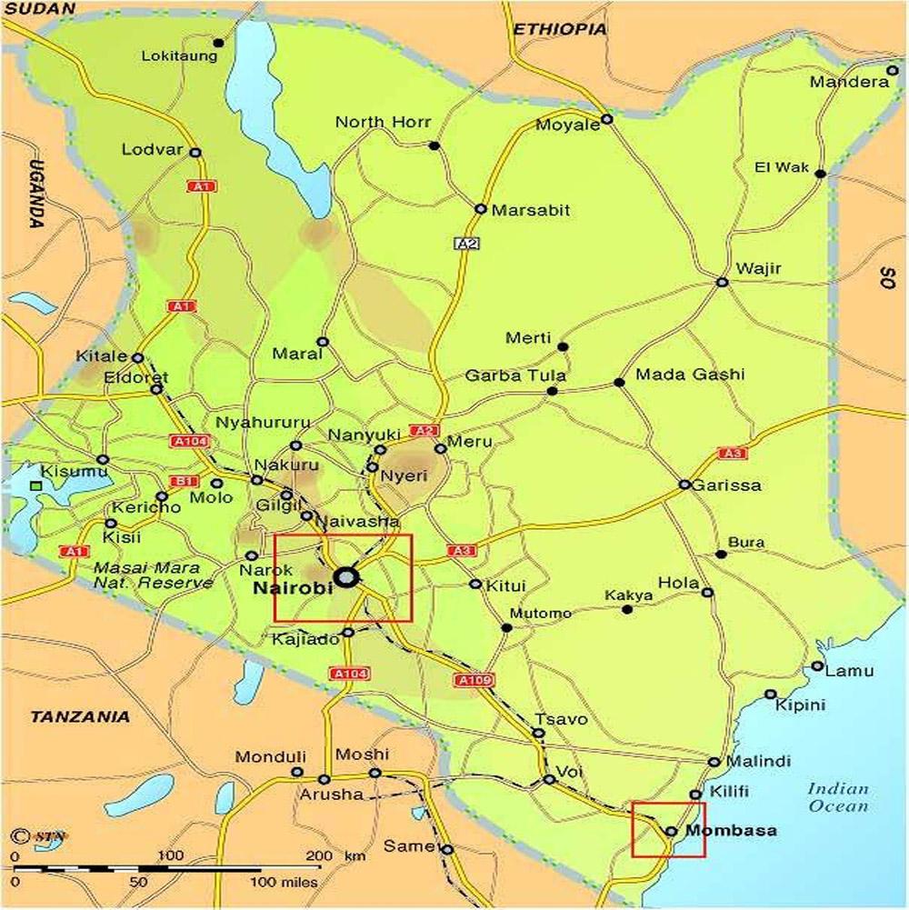 Kenia-Strassenkarte